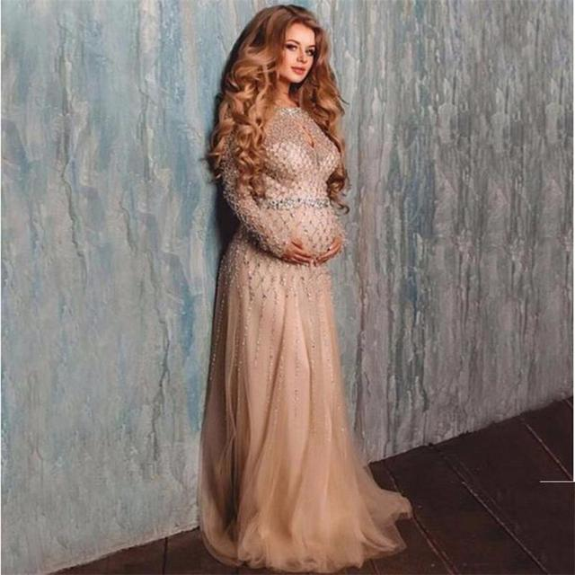 b26291465e0 Sexy Champagne Long Sleeve Maternity Evening Dresses Party 2017 A Line  Sequins Beads Floor Length Formal Prom Dress Gowns WL108