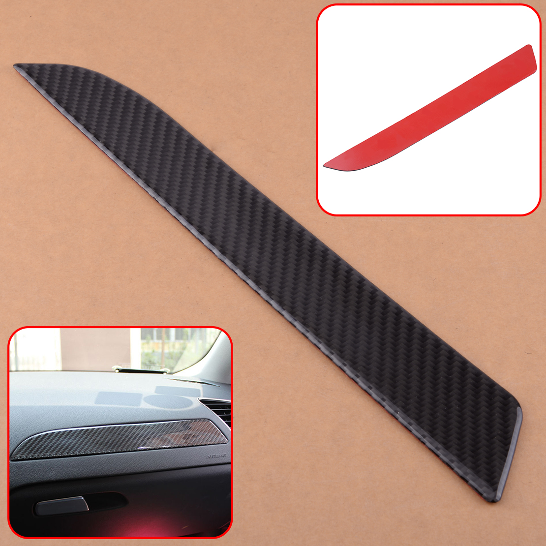 DWCX Carbon Fiber Car Interior Co-pilot Console Panel Glove Box Cover Trim for Audi A4 B8 2009 2010 2011 2012 2013 2014 2015 image