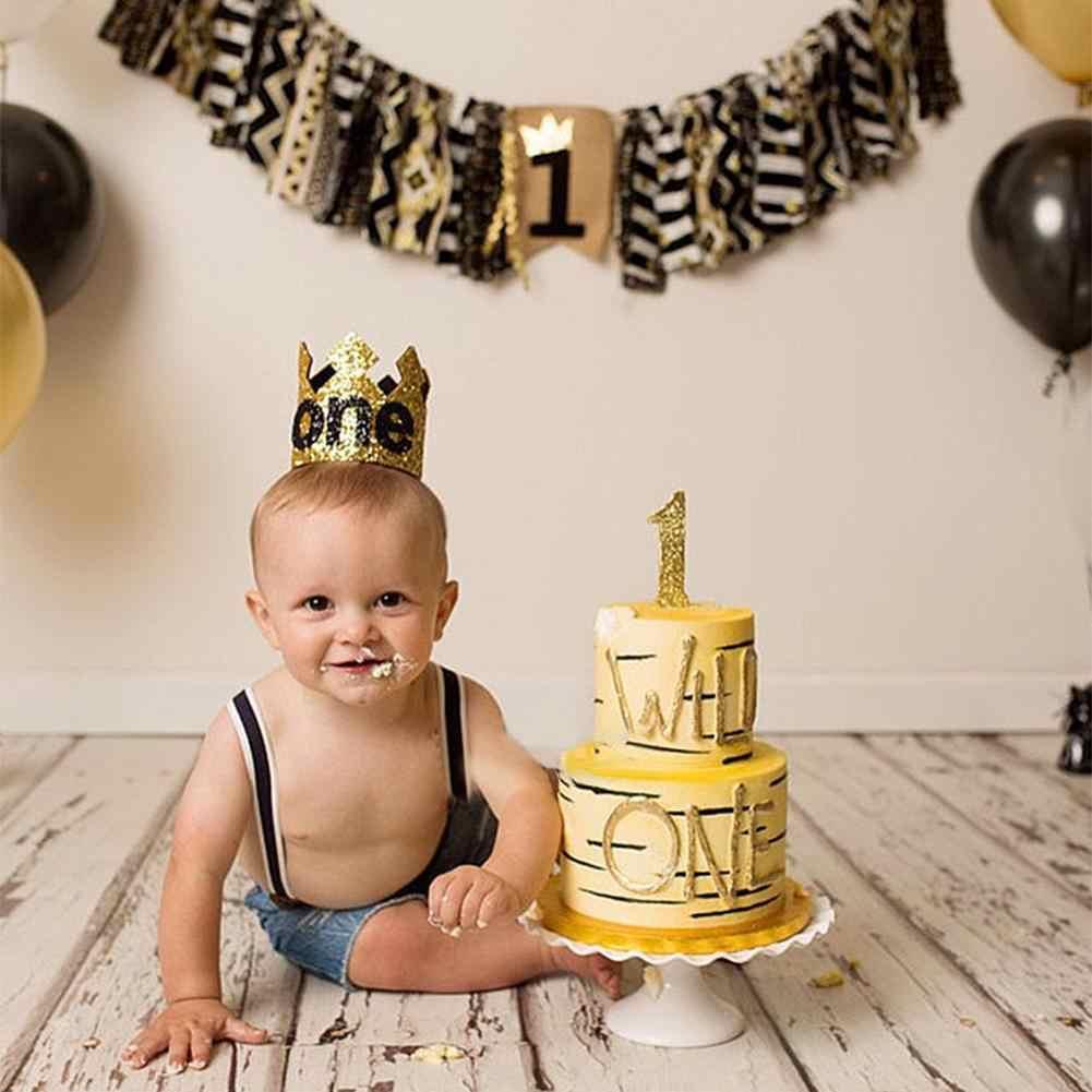 Azul oro niño primer sombrero de cumpleaños brillo princesa corona número 1st 2 3 años de edad fiesta bebé ducha decoración diadema regalos de los niños