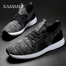 حذاء رجالي غير رسمي بعلامة تجارية حذاء رياضي للرجال حذاء مسطح بدون كعب من القماش الشبكي يسمح بمرور الهواء مقاس كبير مناسب لربيع وخريف Xammep