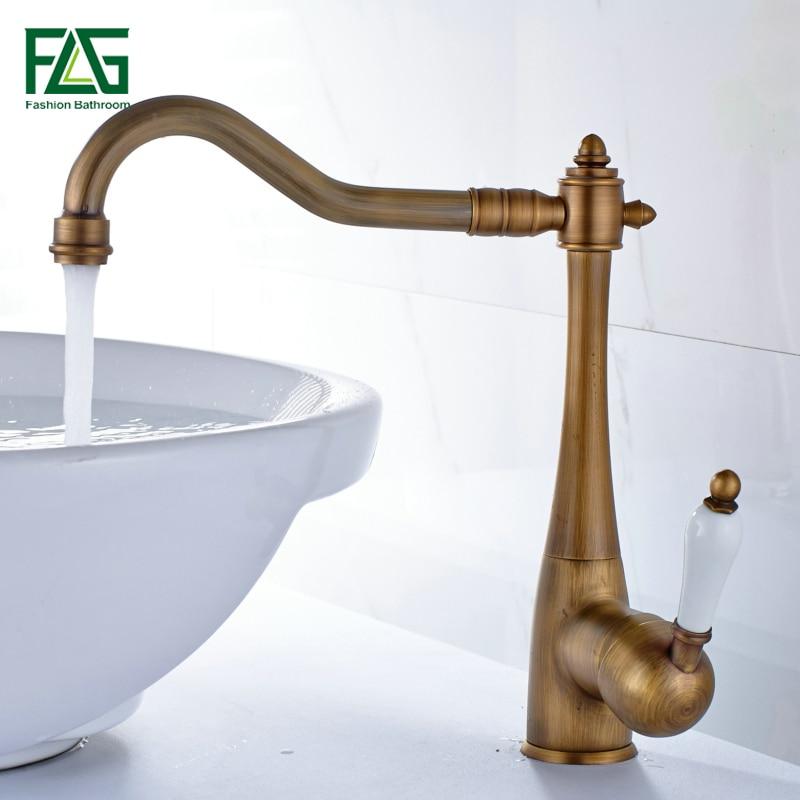 FLG Basin Faucet Antique Brass Bathroom Basin Sink Faucet Single Lever With Porcelain Long Spout Sink