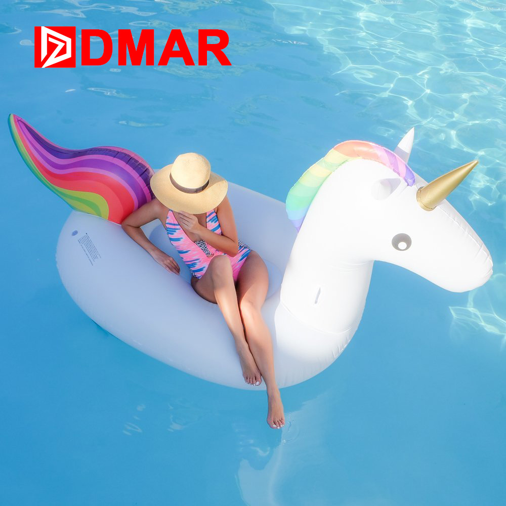 DMAR Inflatable Unicorn Giant Pool Float 200cm Inflatable Mattress Rideable Mat Swimming Ring Circle Beach Sea Water Party Toys 1 2m shell swimming float adults giant pool float pearl scallops inflatable funny aquatic toys air mattress swim life buoy