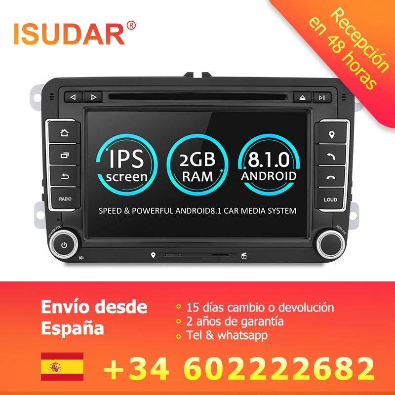 Isudar Voiture lecteur Multimédia Android 8.1 GPS 2 Din Pour VW/Golf/Tiguan/Skoda/Fabia/ rapide/Siège/Leon/Skoda canbus dvd automotivo fm