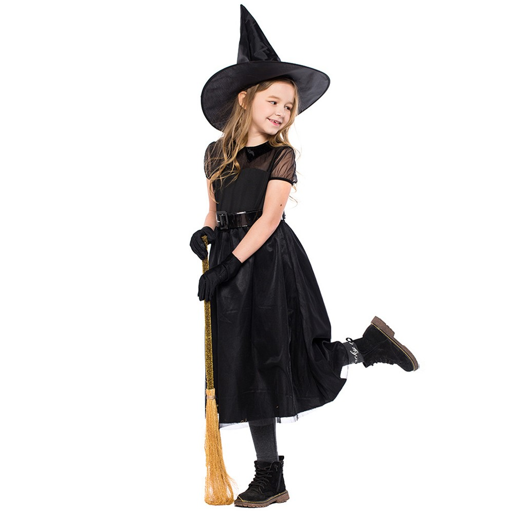 4PC Children Halloween Costume Cosplay Ball Party Dress Hat Belt Gloves Suit vestidos verano 2019 for girls kids Children #F
