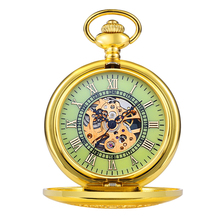 Classic Golden Mechanical Pocket Watch Rome Carved Hollow luminous Watch Men Women Necklace Pendant with Chain Gifts