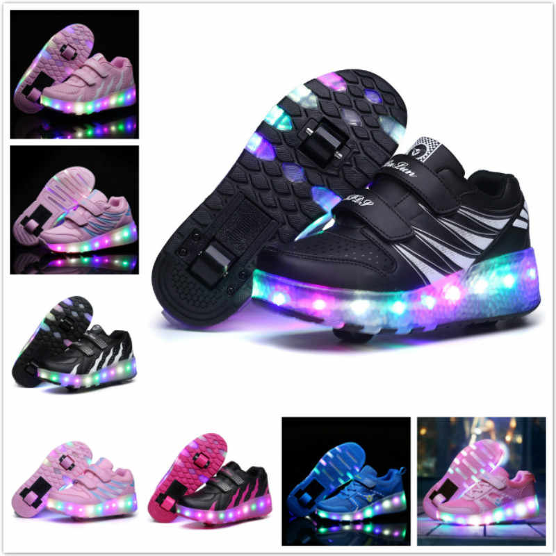 Children LED Flashing Dounle Wheels Roller Skating Shoes Boys Girl Colorful Glowing Roller Skates Sneakers For Male Female Adult