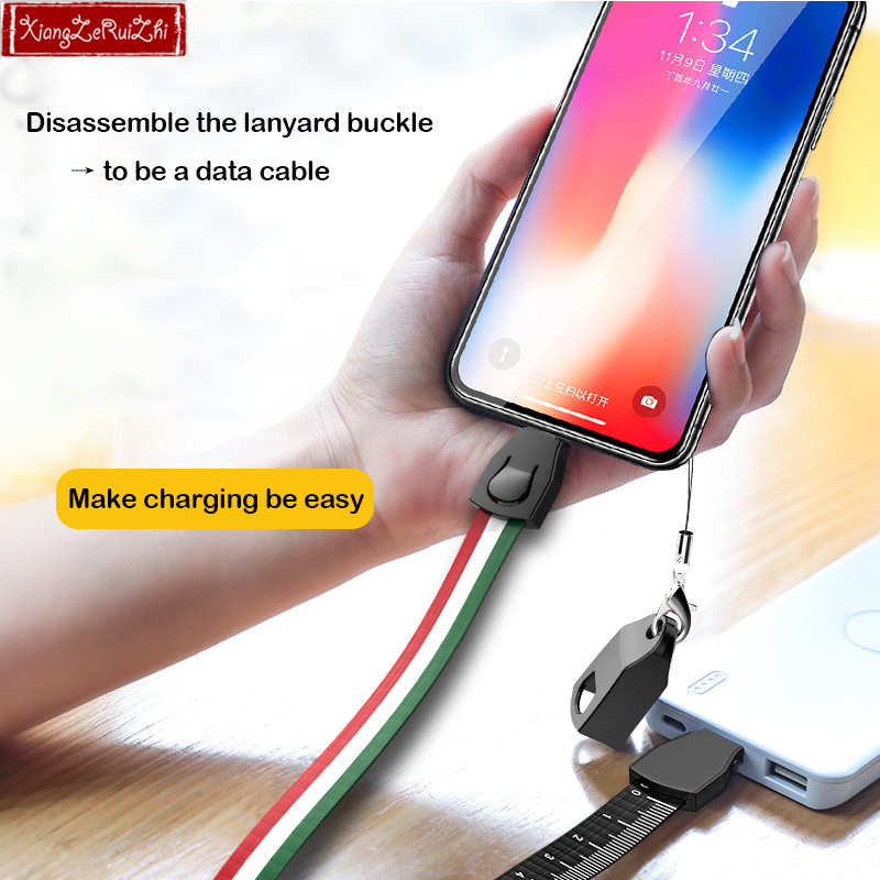 Mobile phone data cable lanyard Multi function fast charger cable mirco Android USB typeC for Apple Samsung Work card rope in Mobile Phone Cables from Cellphones Telecommunications