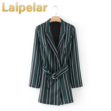 Laipelar Fashion Women Striped Playsuit Long Sleeve With Belt Turn Down Collar Jumpsuit Romper Overall Formal Suit Autumn Outfit vertical striped surplice cami romper with belt