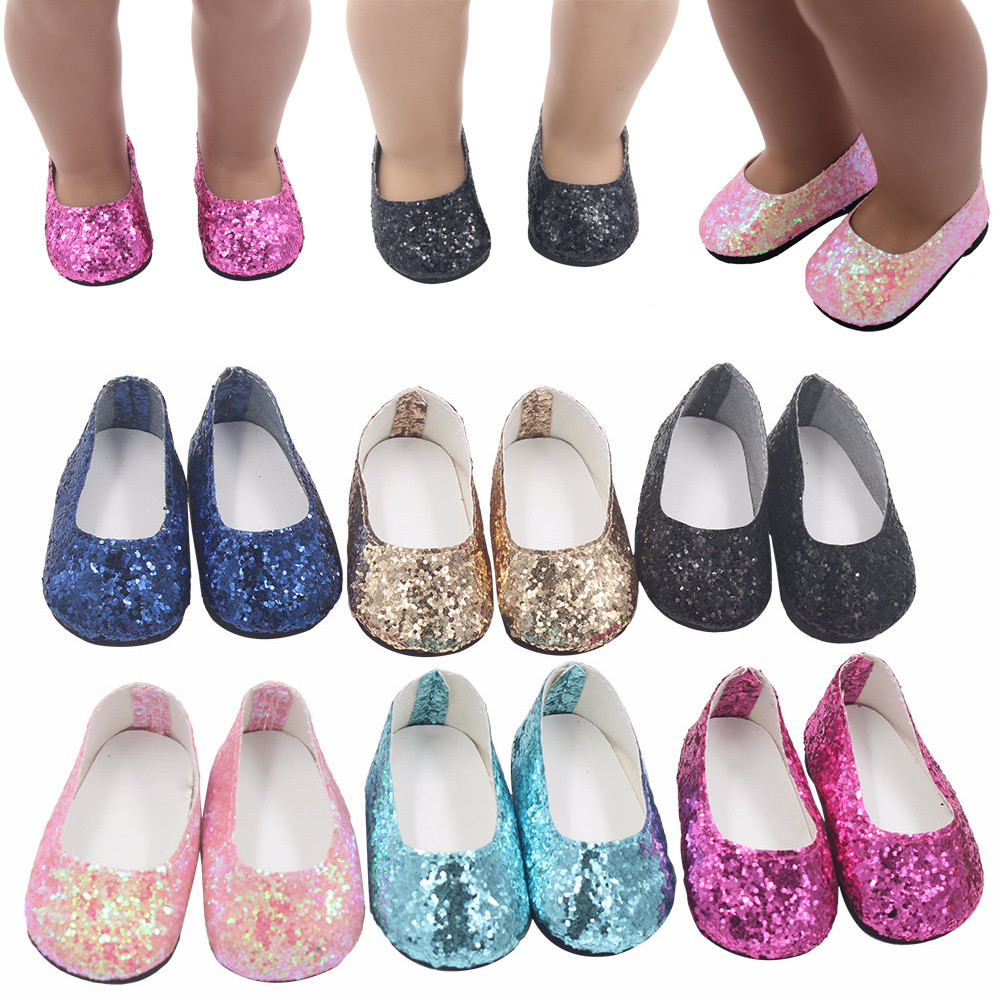 Glitter Doll Shoes Dress Shoe For 18 Inch Our Generation American Girl Doll 18 inch doll shoes toys for children american girl doll clothes halloween witch dress cosplay costume for 16 18 inches doll alexander dress doll accessories x 68