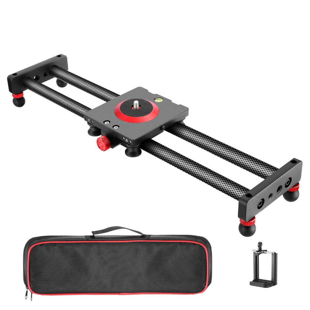 Neewer Camera Slider Carbon Fiber Dolly Rail With 4 Bearings For Smartphone Nikon Canon Sony Camera 12lbs Loading