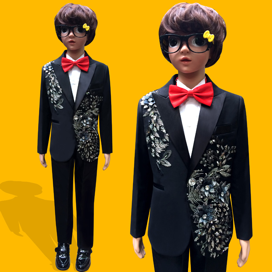 Fashion gentleman style custom made Boy's suits tailor suit Blazer suits boy 3 piece  Embroidered sequins Clothing performances si atrp for attaining tailor made polymer coatings