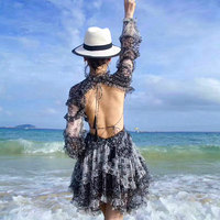 New australia lady holiday wind black and white printed silk long sleeve backless lace beach dress