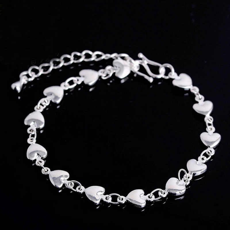 1Pc silver bracelet 925 solid silver fashion jewelry Flat Snake Bone Bracelet & Bangle