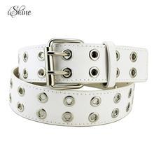 Hombres Mujeres Punk estilo remaches hueco cintura cinturones 2018 PU cuero  negro moda Pin Metal hebilla marca cinturón Cintos M.. 1d36f7b8ff64