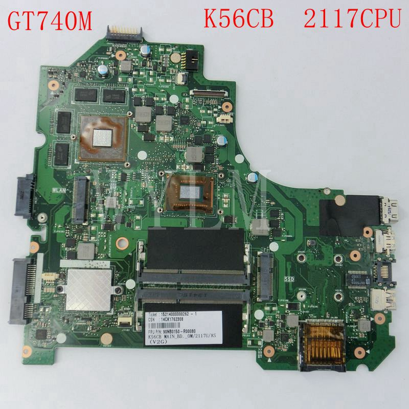 K56CB For Asus A56C K56C K56CB Laptop Motherboard Mainboard REV 2.0 GT740M 2117CPU Full Tested Working Well Freeshipping