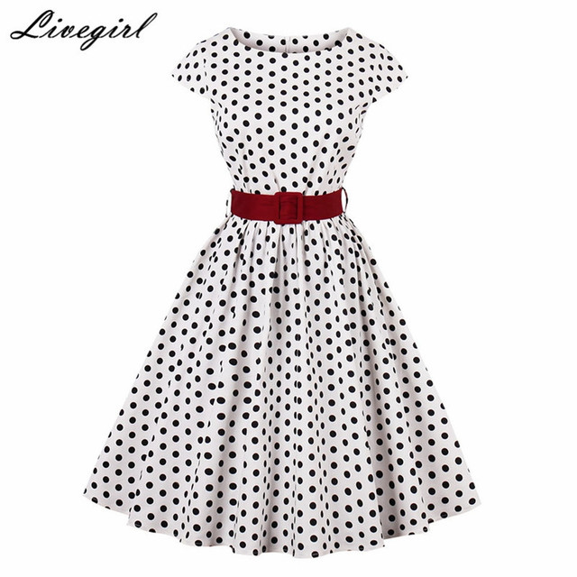 f7dbde0e1d Women Retro Dress 50s 60s Vintage Polka Dot Short Sleeve O Neck Rockabilly  Swing Feminino Vestidos