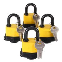 EWS 4pcs 40mm Waterproof Keyed Alike Lock Laminated Padlock Pad Same Key Gate Door