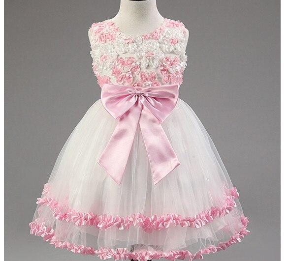 UK Style girls Summer Dress Children Kids Party Elegant 3D Rose ...