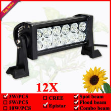 "Off Road 7.5"" 36W 12 LEDs Spot Flood Combo Beam LED Work Light Bar 12pcs/lots for Boat Truck SUV ATV Off-Road Car 12v 24v"