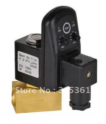 Free Shipping 1/2'' Female Thread Electronic Timer Valve 24-230VAC/DC Drain Off Solenoid Valve DC24V AC110V or AC220V EDV-15 free shipping 1 2 female thread tube solenoid valve 1 2 male thread in ac220v solenoid valve with manual switch