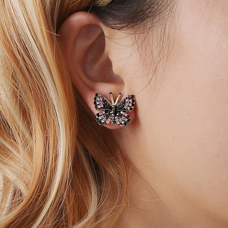 Butterfly Rhinestone Stud Earrings