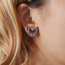 Colorful Rhinestone Inlaid Butterfly Stud Earrings Gold Color Metal Butterfly Piercing Earrings Elegant Women Party Jewelry a suit of graceful rhinestone butterfly earrings for women