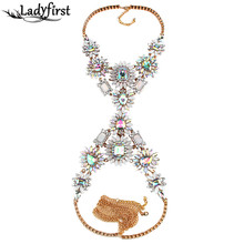 Ladyfirst 2016 New Arrival Long Body Chain Acrylic Flower Crystal Necklace &pendant Luxury Vintage Statement Maxi Necklace 3505