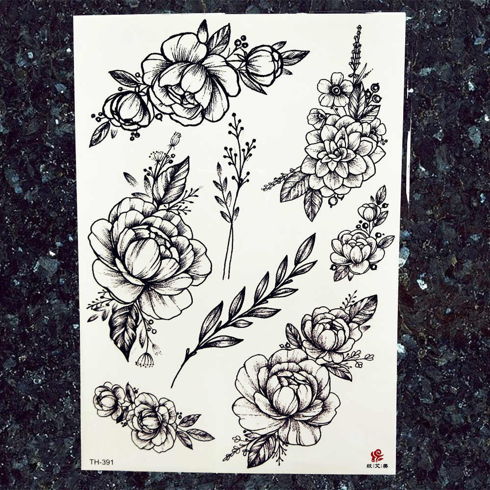Women Black Sketch Flower Tattoos Stickers Fake Men Knight Body Arm Tattoos Temporary Chest Gear Geometry Sexy Tatto Cosmetic