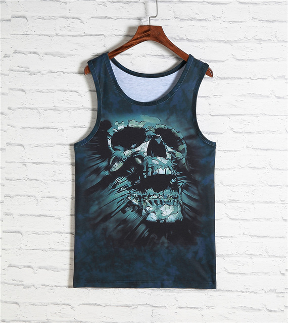 2016 New Arrival Mens 3d Printing Undershirt Vest Loose Fit Soft And Breathable Tank Top Hiphop Wrestling Singlet Free Shipping