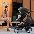 Mima kobi asiento doble 2 en 1 cochecito para gemelos, mima kobi de coche de bebé de dos vías ligero plegable cuatro ruedas del cochecito de bebé