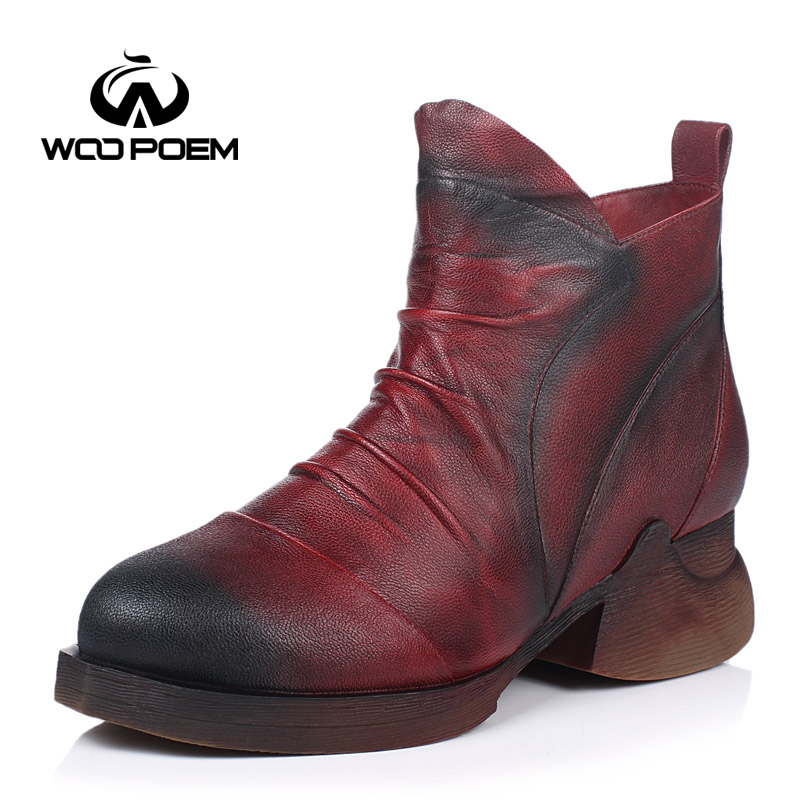 ФОТО WooPoem Winter Shoes Women Breathable Fist Layer Sheepskin Boots Med Heel Hand Made Shoes Genuine Leather Women Boots 602-136