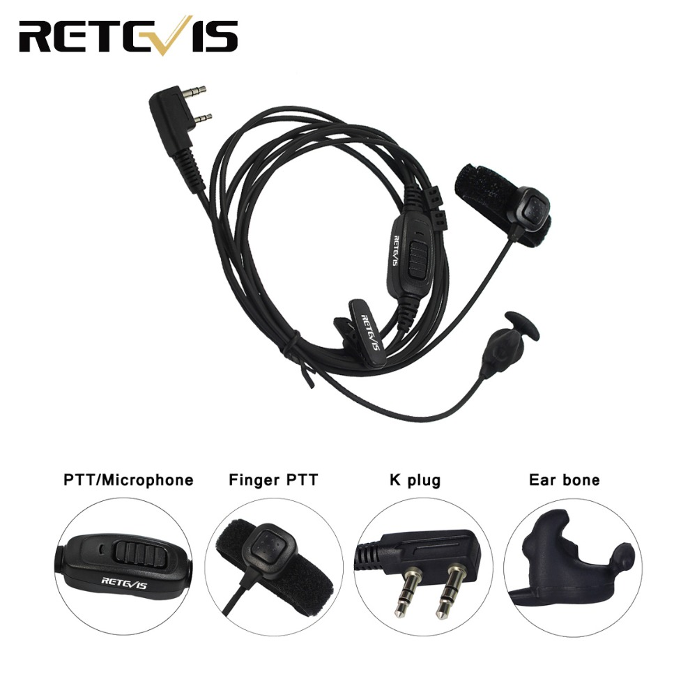 Retevis R-161 2 Pin Ear Bone Earpiece Finger PTT For Kenwood Retevis H777 RT81 Baofeng UV-5R TYT Walkie Talkie C9047A