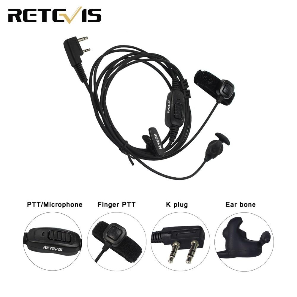 Retevis R-161 2 Pin Ear Bone Earpiece Finger PTT For Kenwood Retevis H777 RT81 Baofeng UV-5R TYT Walkie Talkie C9047A