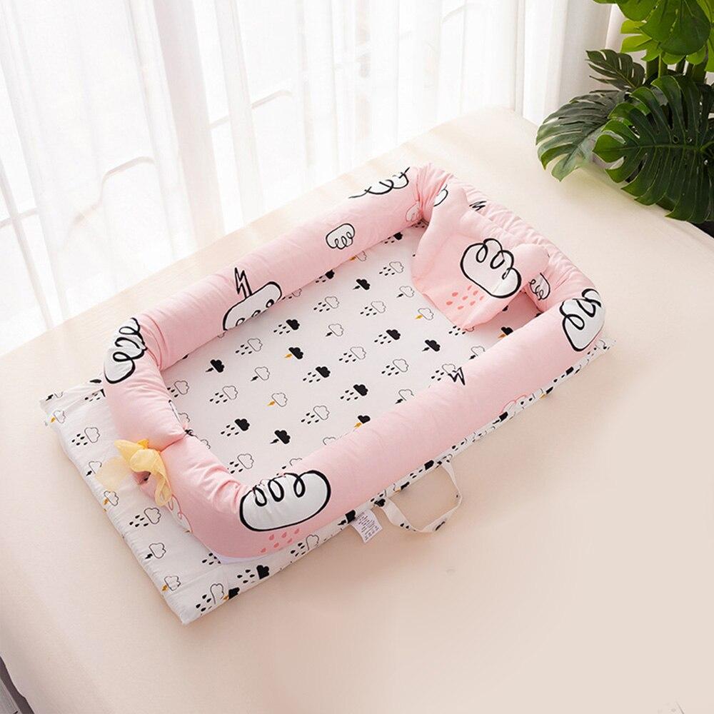 Portable Cartoon bébé lit pare-chocs berceau doux coton bébé nid lavable infantile lit de voyage lit avec oreiller enfants lit Babynest - 3