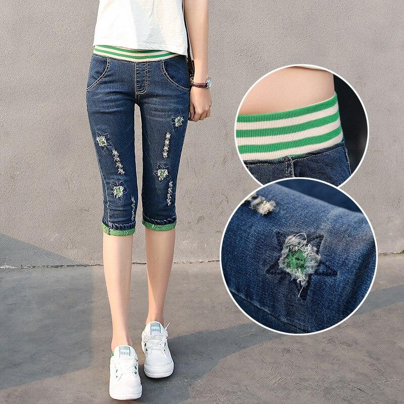 Nonis 2018 New Women Casual Elastic Calf length jeans Girl 3/4 Stretch Denim pants knee length legging trousers Capris Plus Size