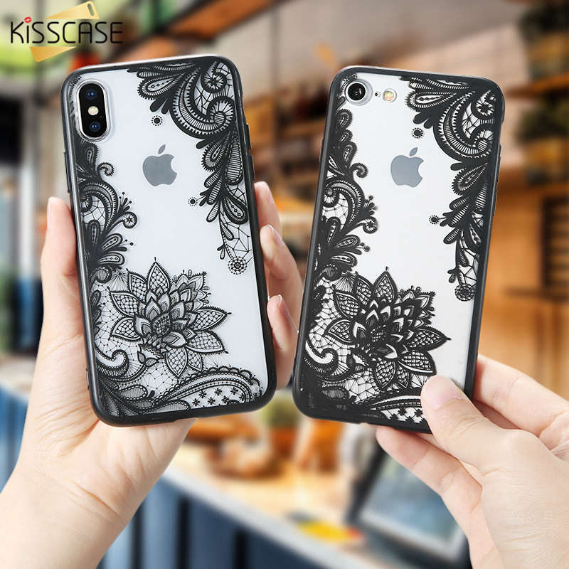 Galleria fotografica KISSCASE For iPhone 6 6s Case Elegant 3D Lace Flower Cover For iPhone 7 7 Plus 8 8 Plus 5s SE Case Silicon Acrylic Slim Coque