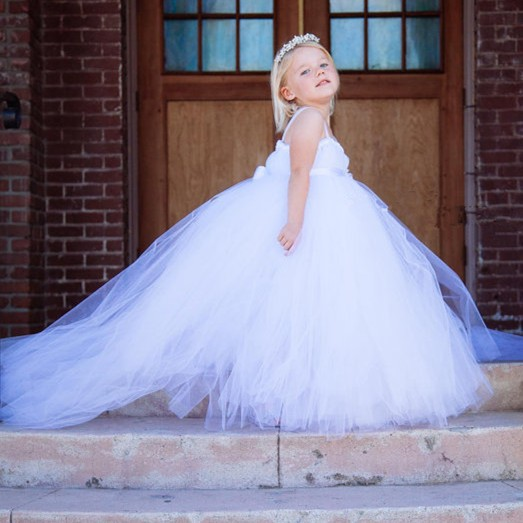 swallow-tailed solid white baby bridesmaid flower girl wedding dress tulle fluffy ball gown birthday evening party tutu dress baby flower girl wedding dress fluffy ball gown birthday evening prom clothing tutu party dress