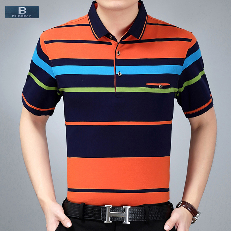 [EL BARCO] High Quality 100% Cotton Stripe Men Summer Polo Shirts Short Sleeve Slim Breathable Luxury Fashion Male Shirt Tops