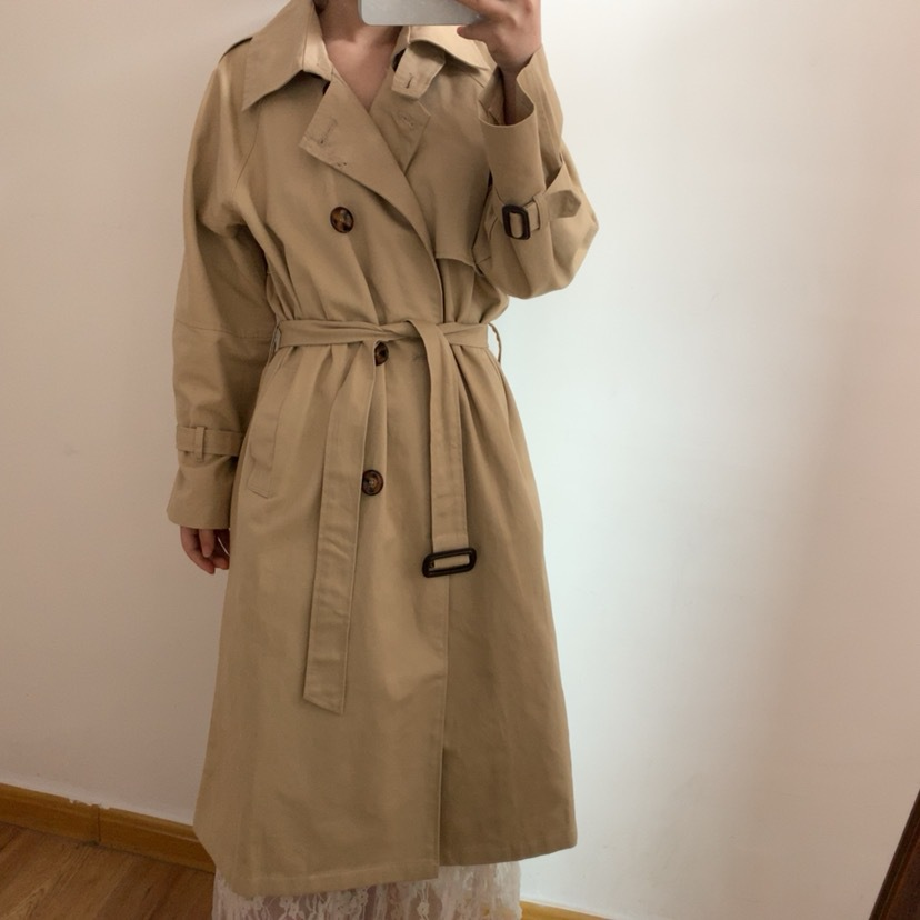 2019 Korean Autumn And Winter long windbreaker woman Casual Waist Belt Loose Solid Color Female   Trench   Coat