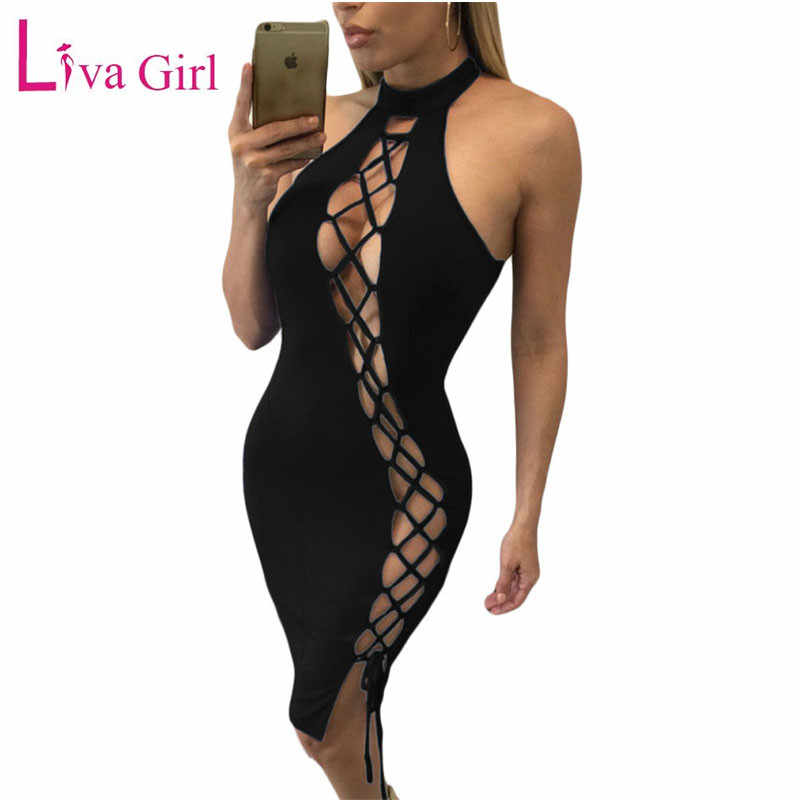 LIVA GIRL ผู้หญิงเซ็กซี่ Bodycon Night Club Wear 2019 Hollow OUT Backless สีดำสีแดงผ้าพันคอ PARTY Dresses