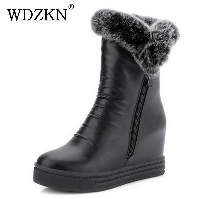 WDZKN Winter Warm Ankle Boots For Women Snow Boots Faux Fur Zipper Height Increasing Boots Women Platform Shoes Big Size 34-43 doratasia big size 34 43 women half knee high boots vintage flat heels warm winter fur shoes round toe platform snow boots