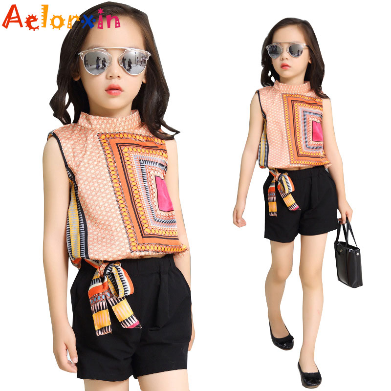 Children Clothes Sets Girls Summer Outfits for Kids Sleeveless Tops & Pants Suits Print Tshirts Shorts for Girls 2 8 10 12 Years hot princess kids girls outfits clothes baby bow stripe dress shirts tank tops pants shorts