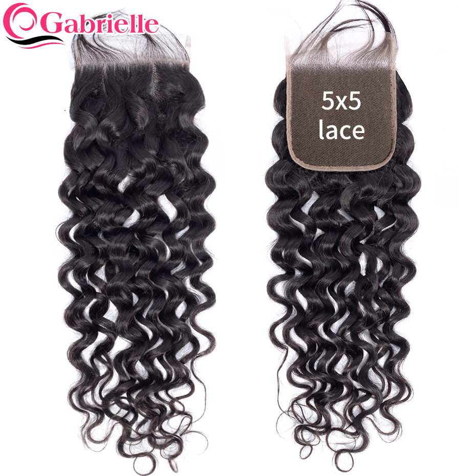 Gabrielle Hair Lace Closure Water-Wave Natural-Color Remy Free/Middle-Part Brazilian