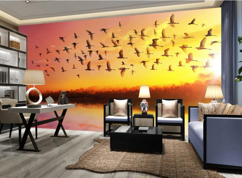 Girls Bedroom Wall Art Sunrise Sky Soaring Removable Wall Murals ...