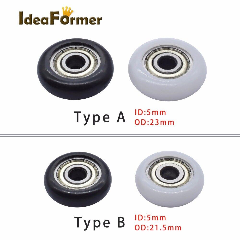 4pcs 3D Printer Kossel Nylon Plastic Wheel With Bearings Roller Wheel POM 5x21.5x7mm/5x23x7mm Embedded Groove Ball Bearings