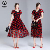 Women Sexy Elegant Red Flower Applique 3D Embroidery Ruched Party Sheath Special Occasion Bridesmaid Mother Of