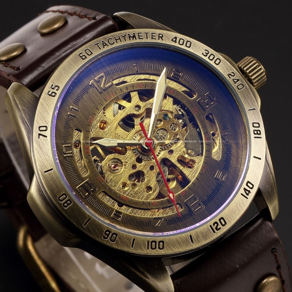 Luxury Brand Men s Retro Bronze Steampunk Skeleton Automatic font b Mechanical b font Relogio Leather