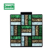 2019 Evening Bags acrylic patchwork retro dinner lady messenger bag geometric pattern Messenger bches Party Prom Handbags Purses