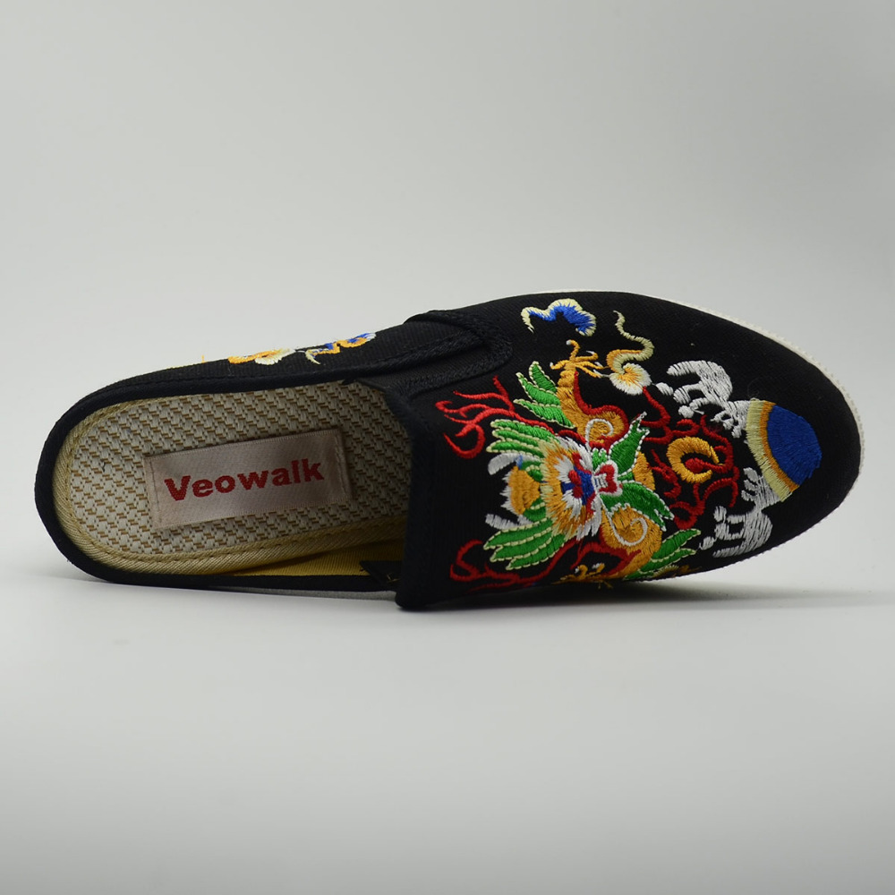 Veowalk Chinese Totem Embroidery Womens Casual Canvas Wedge Slippers Medium Hidden Heel Slip-on Comfort Platform Slides Shoes
