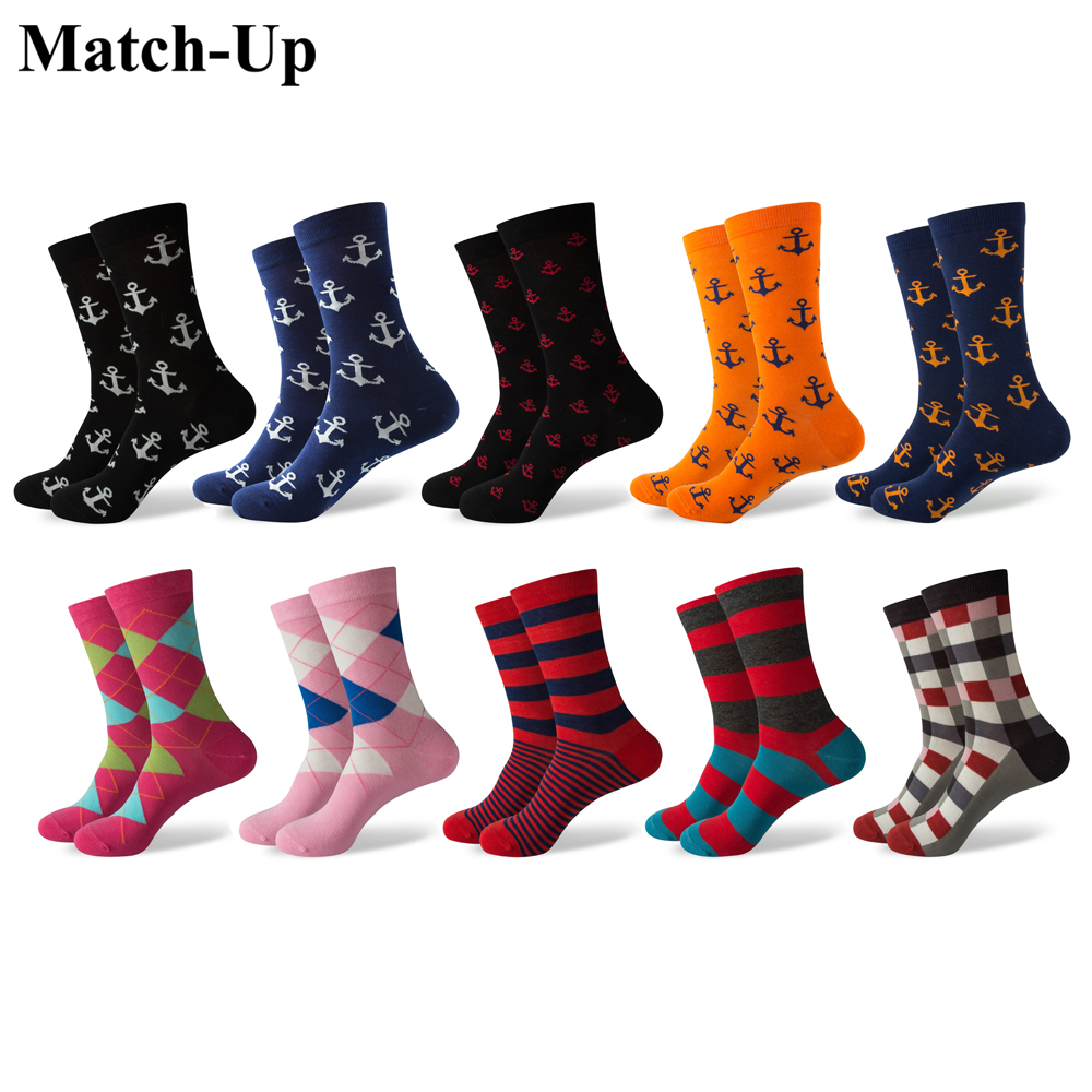 Match-Up Mens Anchor Styles and Argyle combed cotton Crew socks(10 Pairs/lot)